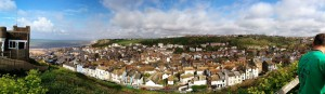 Panoramic view over Hastings from the top of the  East Hill steps