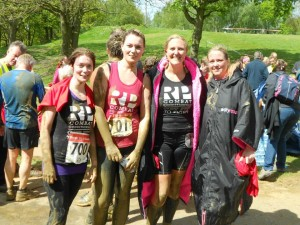 At the finish line with (from left to right) Lucy Warburton, Sarah Warburton, me, Tania Mellish
