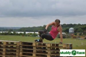 Action shot over one set of pallets, picture courtesy of Muddyrace.co.uk