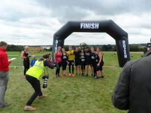Finishing the Dirty Dash (L-R Helen Carrington, Samantha Curtis, James Ruckley, Scott Brown, Lisa Broadley, Doug Spence, Faye Caley, Elbie Brown)