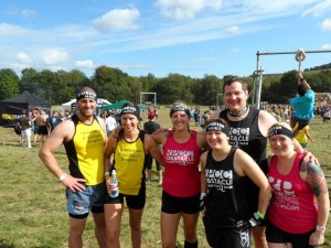 Before the race with my fellow Spartan virgins. (L-R Roger Roberts, Ella Roberts, Helen Carrington, Kate Lawless, Pete Lawless, Viki Stapley)