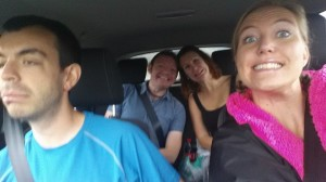 In the car, excited, on the way to Nuclear Fallout with Philip Carrington, Heidi Jones and Garry Stapley