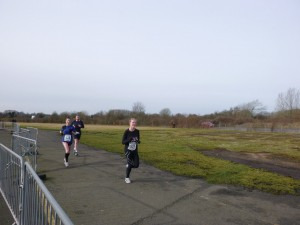 Running one of the three laps round the airfield