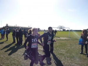 Dom and I running for the finish