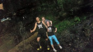 At the waterfall with Dom and Kev
