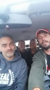 Early morning car selfie with Vince, Linda and Chris