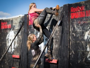 Linda giving me a push over the final wall. Picture courtesy of Tom Nash