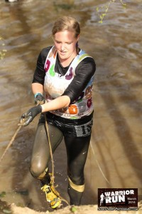 Coming up the final muddy bank